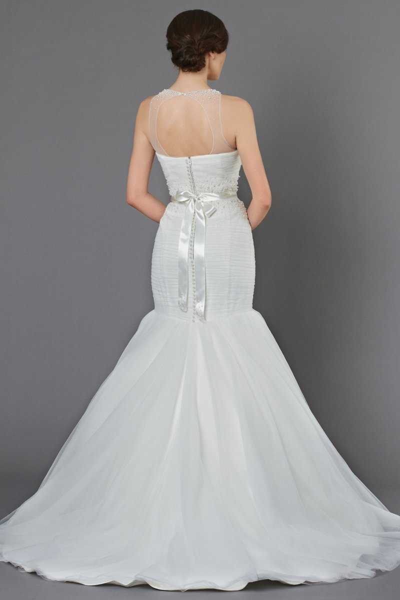 Wedding Dresses, Illusion Neckline Wedding Dresses, Mermaid Wedding Dresses, Fashion, ivory, Beading, Tulle, Jewel, Floor, Formal, Ballroom, Dropped, Illusion, Sleeveless, Ruching, Sash/Belt, Fit-n-Flare, bateau, Bateau Wedding Dresses, Kelly Faetanini, Beaded Wedding Dresses, tulle wedding dresses, Jewel Wedding Dresses, Formal Wedding Dresses, Floor Wedding Dresses, Sash Wedding Dresses, Belt Wedding Dresses