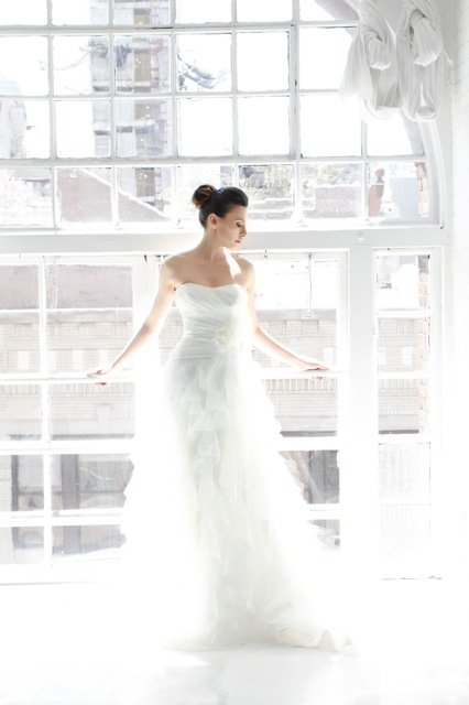 Wedding Dresses, Ball Gown Wedding Dresses, Ruffled Wedding Dresses, Romantic Wedding Dresses, Fashion, ivory, Flowers, Romantic, Strapless, Strapless Wedding Dresses, Floor, Formal, Organza, Ballroom, Ruffles, Dropped, Ruching, Ball gown, Sash/Belt, Kelly Faetanini, organza wedding dresses, Flower Wedding Dresses, Formal Wedding Dresses, Floor Wedding Dresses, Sash Wedding Dresses, Belt Wedding Dresses