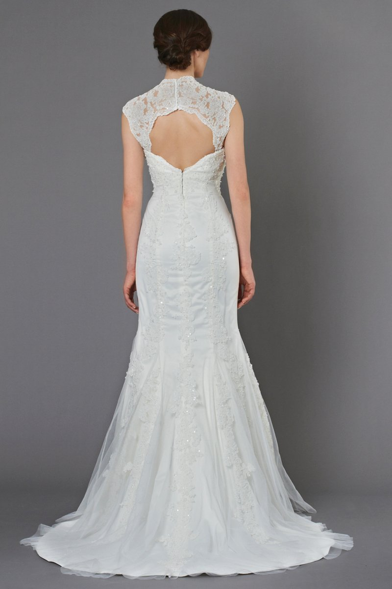 Tulle gown with beaded alencon lace applique neckline for Queen anne neckline wedding dress