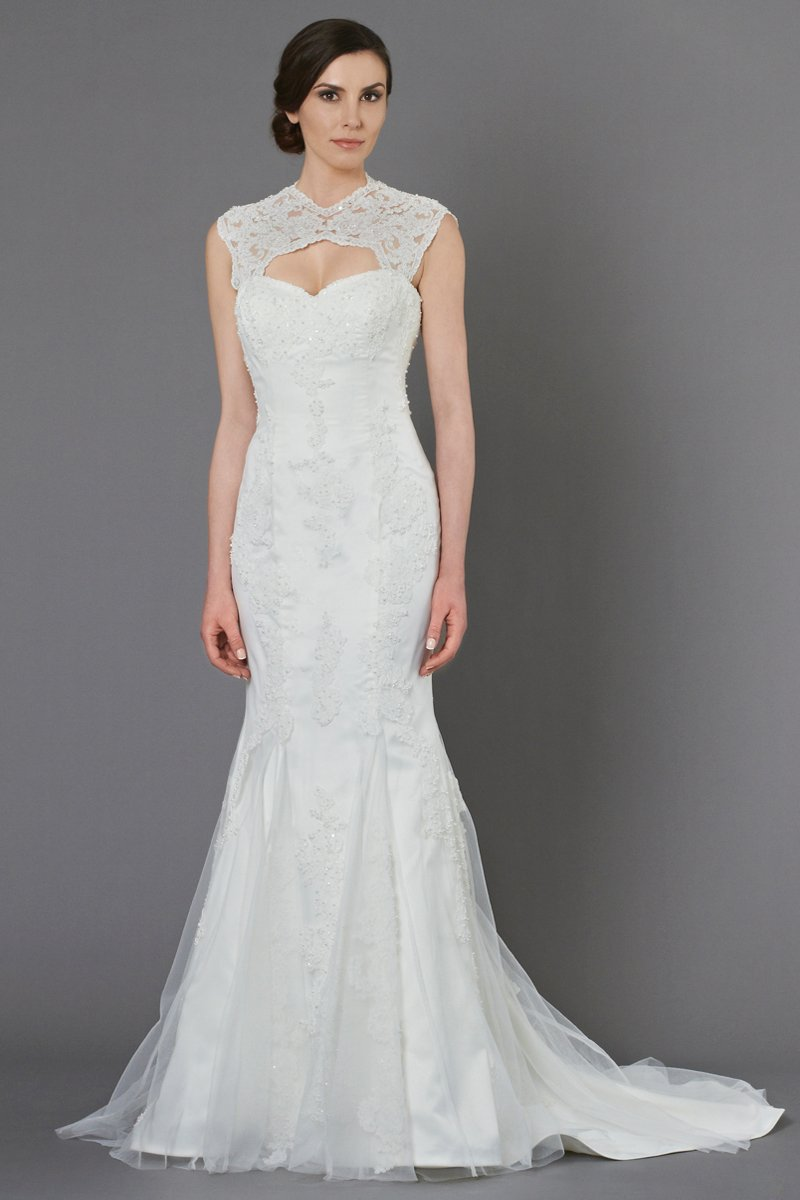 Wedding Dresses, Lace Wedding Dresses, Vintage Wedding Dresses, Fashion, ivory, Vintage, Vineyard, Garden, Lace, Beading, Sheath, Tulle, Floor, Natural, short sleeve, illusion sleeves, Queen Anne, Kelly Faetanini, Beaded Wedding Dresses, tulle wedding dresses, Sheath Wedding Dresses, Floor Wedding Dresses, Queen Anne Wedding Dresses