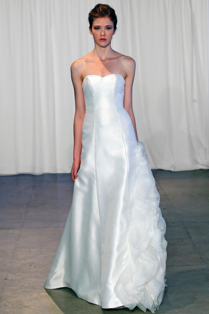 Wedding Dresses, Sweetheart Wedding Dresses, A-line Wedding Dresses, Ruffled Wedding Dresses, Fashion, ivory, Modern, Sweetheart, Strapless, Strapless Wedding Dresses, A-line, Floor, Natural, Ballroom, Ruffles, Hip, Museum, Shantung, modern space, Modern Wedding Dresses, Kelly Faetanini, Floor Wedding Dresses, Shantung Wedding Dresses, Hip Wedding Dresses