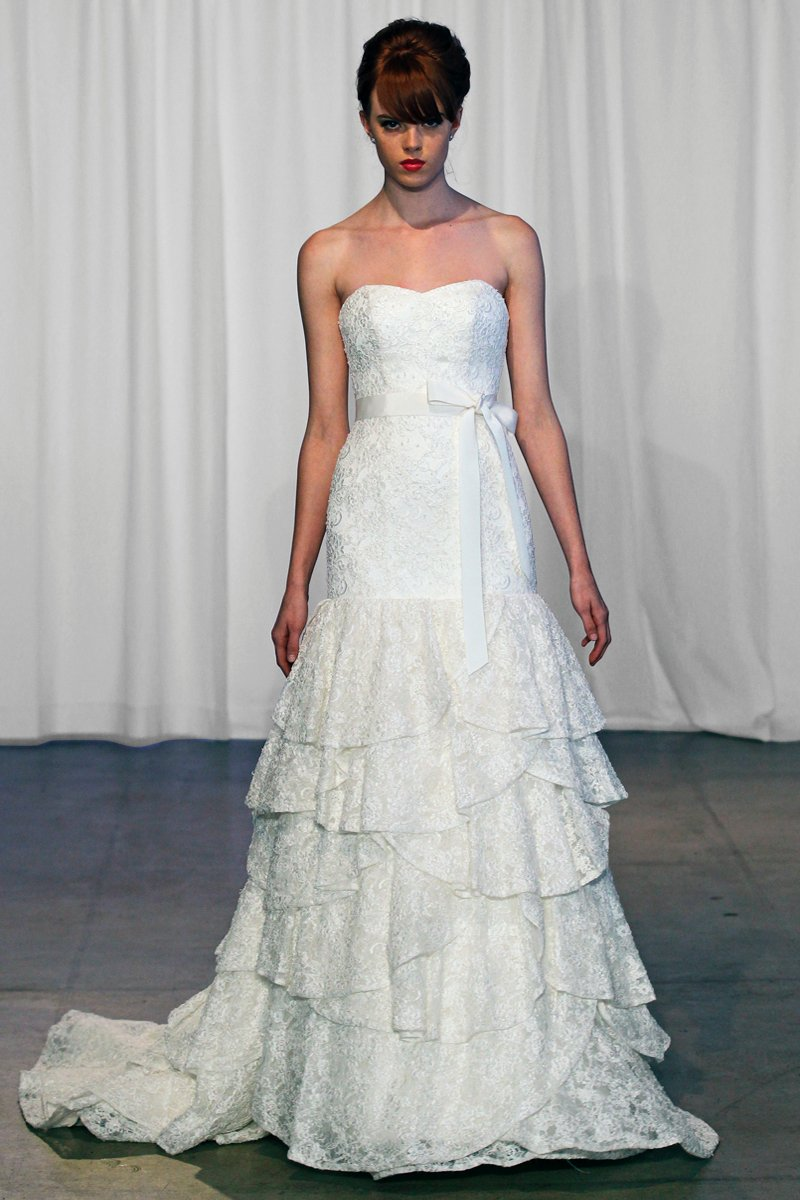 Wedding Dresses, Sweetheart Wedding Dresses, Mermaid Wedding Dresses, Lace Wedding Dresses, Fashion, ivory, Shabby Chic, Lace, Sweetheart, Strapless, Strapless Wedding Dresses, Floor, Formal, Country, Tiers, Dropped, Mermaid/Trumpet, Sash/Belt, historic site, Kelly Faetanini, trumpet wedding dresses, Formal Wedding Dresses, Floor Wedding Dresses, Shabby Chic Wedding Dresses, Sash Wedding Dresses, Belt Wedding Dresses, Tiered Wedding Dresses