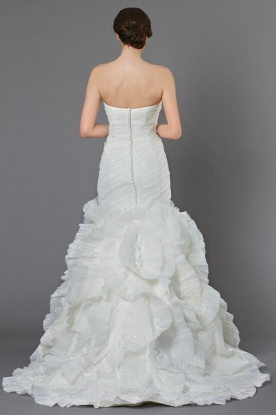 Wedding Dresses, Mermaid Wedding Dresses, Ruffled Wedding Dresses, Romantic Wedding Dresses, Fashion, ivory, Romantic, Strapless, Strapless Wedding Dresses, Floor, Formal, Organza, Ballroom, Ruffles, Dropped, Ruching, Mermaid/Trumpet, Sash/Belt, historic site, Kelly Faetanini, organza wedding dresses, trumpet wedding dresses, Formal Wedding Dresses, Floor Wedding Dresses, Sash Wedding Dresses, Belt Wedding Dresses