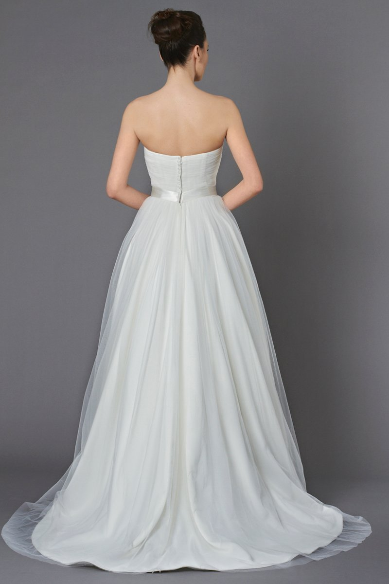 Wedding Dresses, Ball Gown Wedding Dresses, Romantic Wedding Dresses, Fashion, ivory, Flowers, City, Boho Chic, Romantic, Strapless, Strapless Wedding Dresses, Tulle, Country, Natural, Ruching, Ball gown, High-low, Sash/Belt, Kelly Faetanini, Boho Chic Wedding Dresses, tulle wedding dresses, high-low wedding dresses, Flower Wedding Dresses, Sash Wedding Dresses, Belt Wedding Dresses