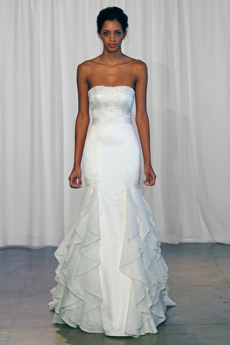 Wedding Dresses, Mermaid Wedding Dresses, Romantic Wedding Dresses, Fashion, ivory, Romantic, Strapless, Strapless Wedding Dresses, Beading, Satin, Floor, Formal, Natural, Ballroom, Ruching, Mermaid/Trumpet, Sash/Belt, historic site, Kelly Faetanini, Beaded Wedding Dresses, trumpet wedding dresses, satin wedding dresses, Formal Wedding Dresses, Floor Wedding Dresses, Sash Wedding Dresses, Belt Wedding Dresses
