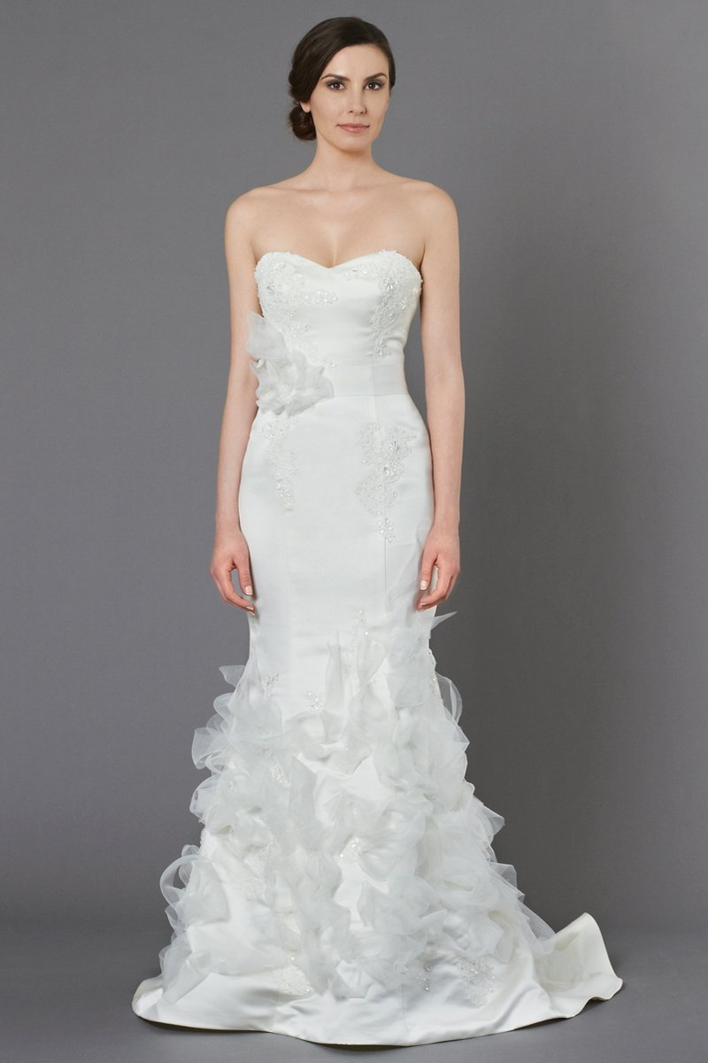 Wedding Dresses, Sweetheart Wedding Dresses, Mermaid Wedding Dresses, Ruffled Wedding Dresses, Fashion, ivory, Flowers, Shabby Chic, Sweetheart, Strapless, Strapless Wedding Dresses, Beading, Satin, Floor, Natural, Ballroom, Ruffles, Mermaid/Trumpet, Sash/Belt, Kelly Faetanini, Beaded Wedding Dresses, trumpet wedding dresses, satin wedding dresses, Flower Wedding Dresses, Floor Wedding Dresses, Shabby Chic Wedding Dresses, Sash Wedding Dresses, Belt Wedding Dresses