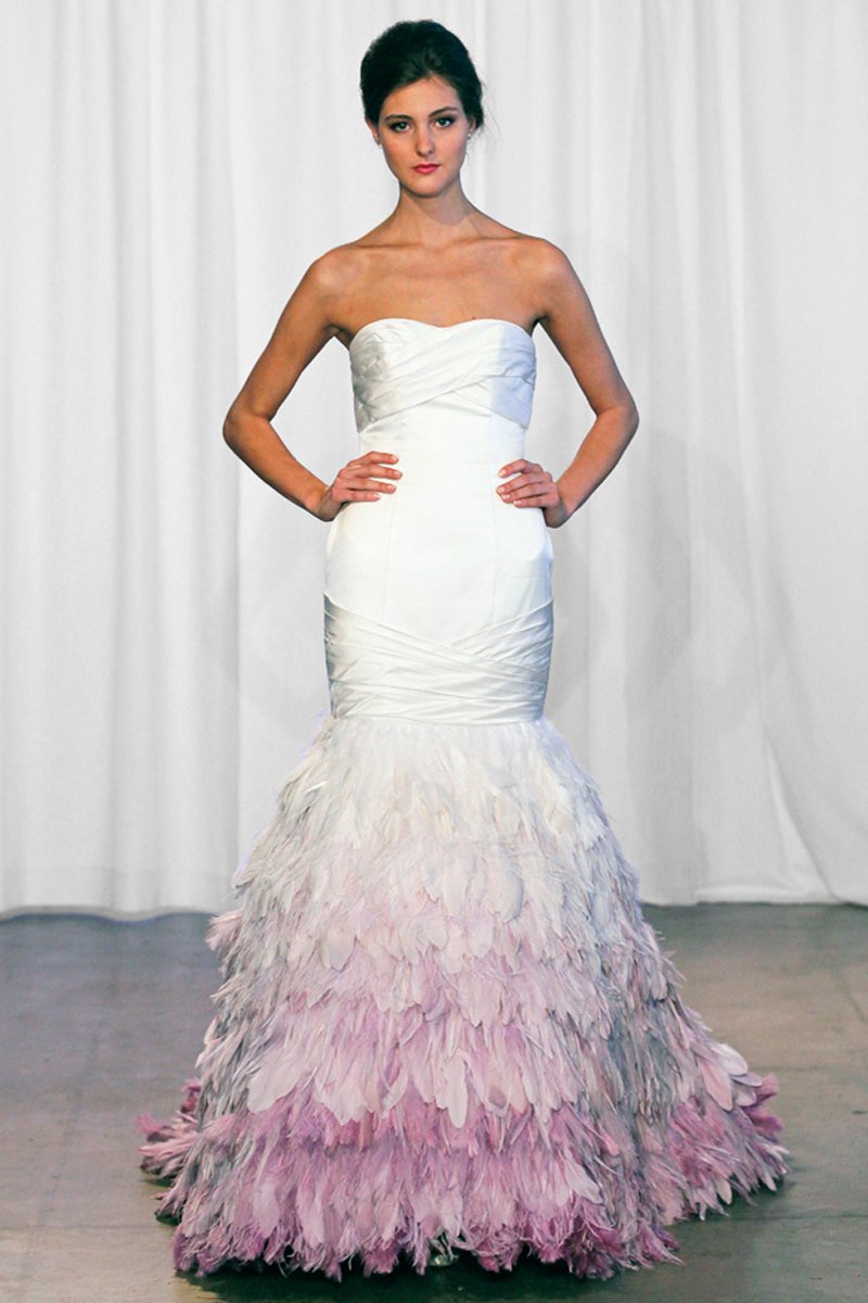 Wedding Dresses, Mermaid Wedding Dresses, Fashion, white, purple, Feathers, Strapless, Strapless Wedding Dresses, Satin, Floor, Ballroom, Tiers, Dropped, Pleats, Ruching, Avant-Garde, Mermaid/Trumpet, Kelly Faetanini, trumpet wedding dresses, satin wedding dresses, Feather Wedding Dresses, Floor Wedding Dresses, Tiered Wedding Dresses