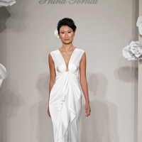 Wedding Dresses, Romantic Wedding Dresses, Fashion, white, ivory, Classic, Romantic, V-neck, V-neck Wedding Dresses, Sheath, Floor, Formal, Natural, Silk, Modest, Pnina tornai, Kleinfeld, cap sleeve, Classic Wedding Dresses, Sheath Wedding Dresses, Formal Wedding Dresses, Silk Wedding Dresses, Floor Wedding Dresses, Modest Wedding Dresses