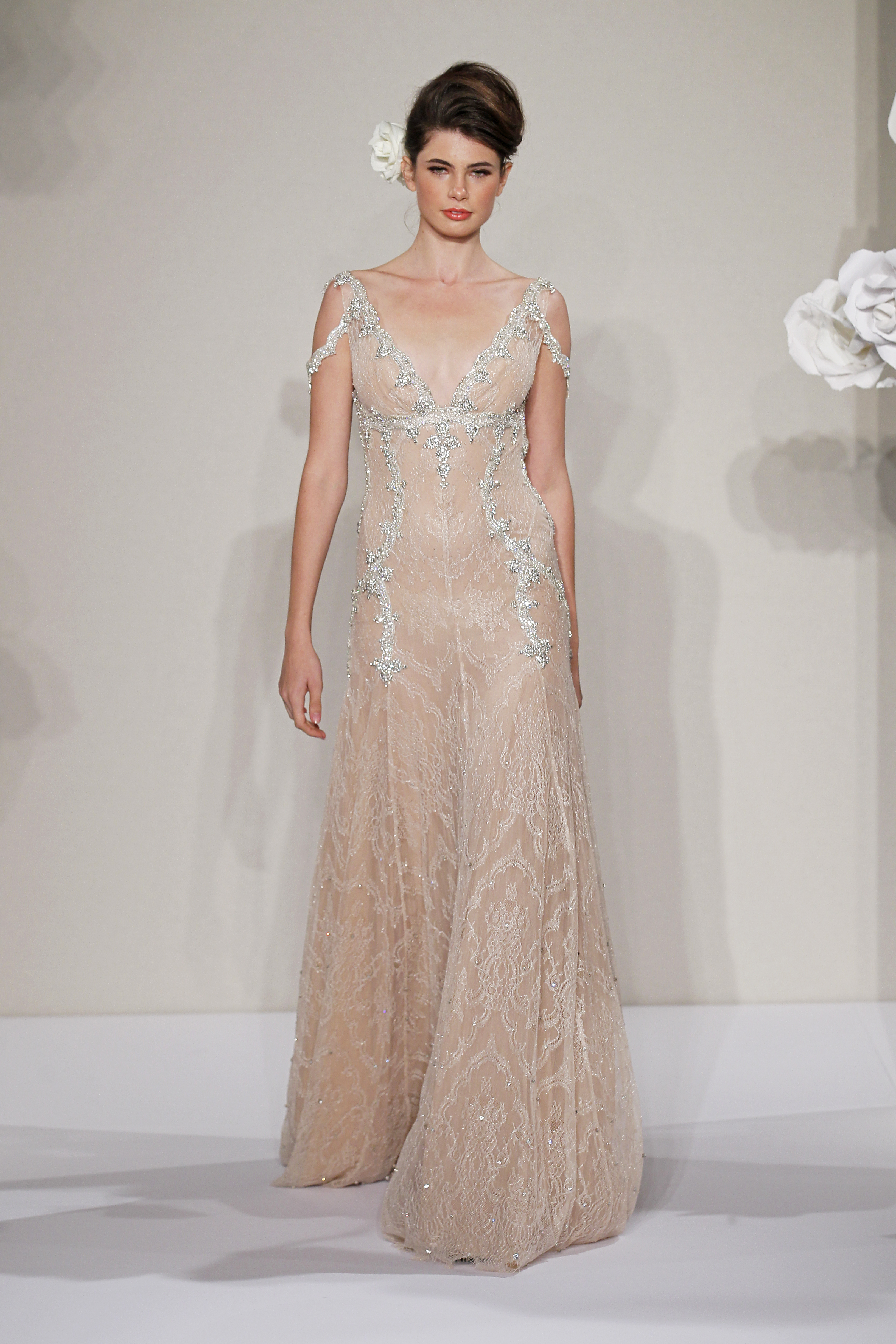Wedding Dresses, A-line Wedding Dresses, Lace Wedding Dresses, Romantic Wedding Dresses, Hollywood Glam Wedding Dresses, Fashion, ivory, pink, Shabby Chic, Romantic, Lace, A-line, Beading, V-neck, V-neck Wedding Dresses, Floor, Formal, Natural, Hip, Sleeveless, Pnina tornai, Kleinfeld, hollywood glam, Beaded Wedding Dresses, Formal Wedding Dresses, Floor Wedding Dresses, Hip Wedding Dresses, Shabby Chic Wedding Dresses