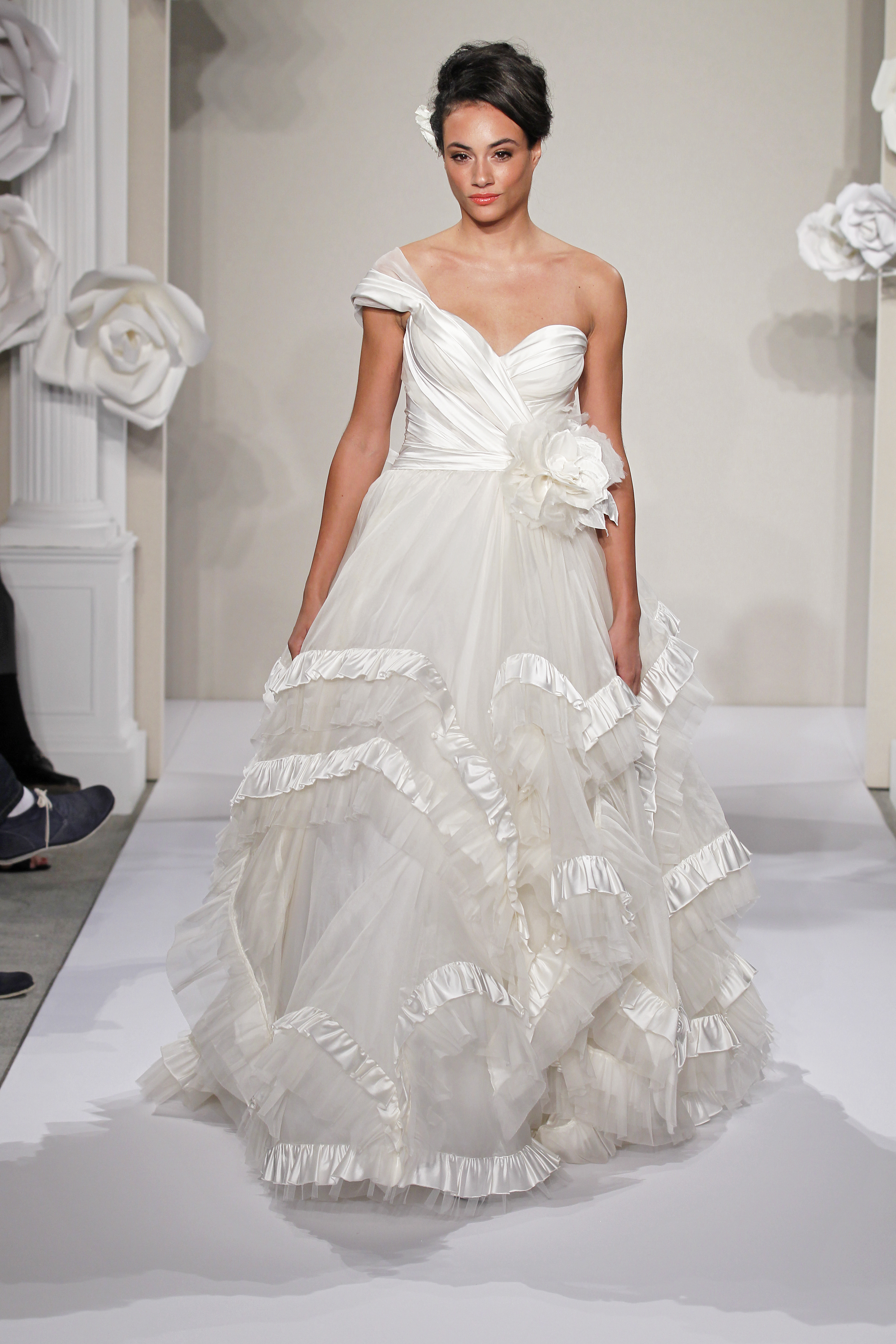 Wedding Dresses, One-Shoulder Wedding Dresses, Ball Gown Wedding Dresses, Ruffled Wedding Dresses, Lace Wedding Dresses, Romantic Wedding Dresses, Hollywood Glam Wedding Dresses, Fashion, white, ivory, Flowers, Shabby Chic, Romantic, Lace, Empire, Floor, Silk, Ruffles, Sleeveless, Pnina tornai, Ball gown, One-shoulder, hollywood glam, klienfeld, Flower Wedding Dresses, Silk Wedding Dresses, Floor Wedding Dresses, Shabby Chic Wedding Dresses