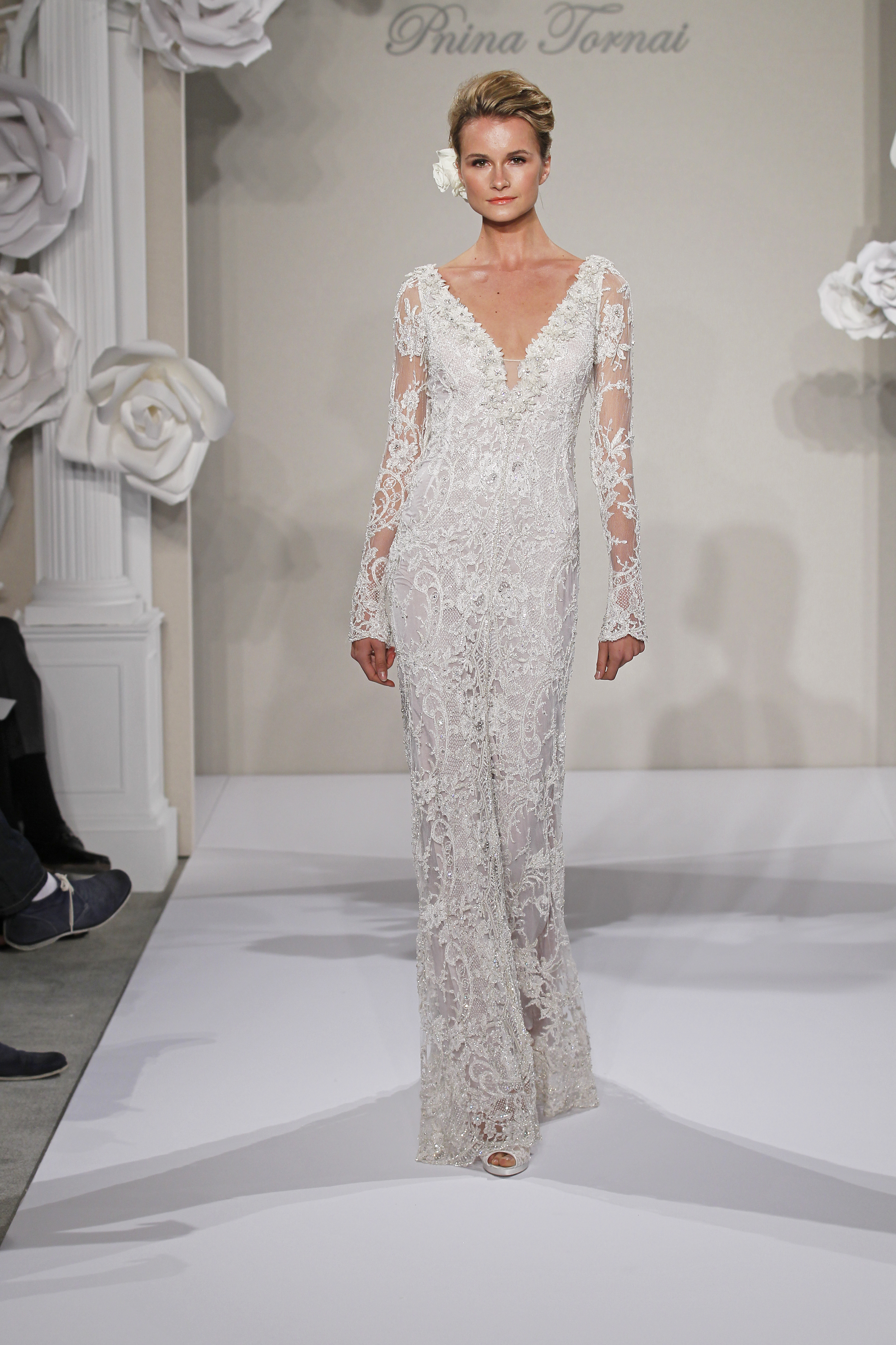 Vneck sheath gown in beaded embroidery this sheath gown for Long sleeve beaded wedding dress