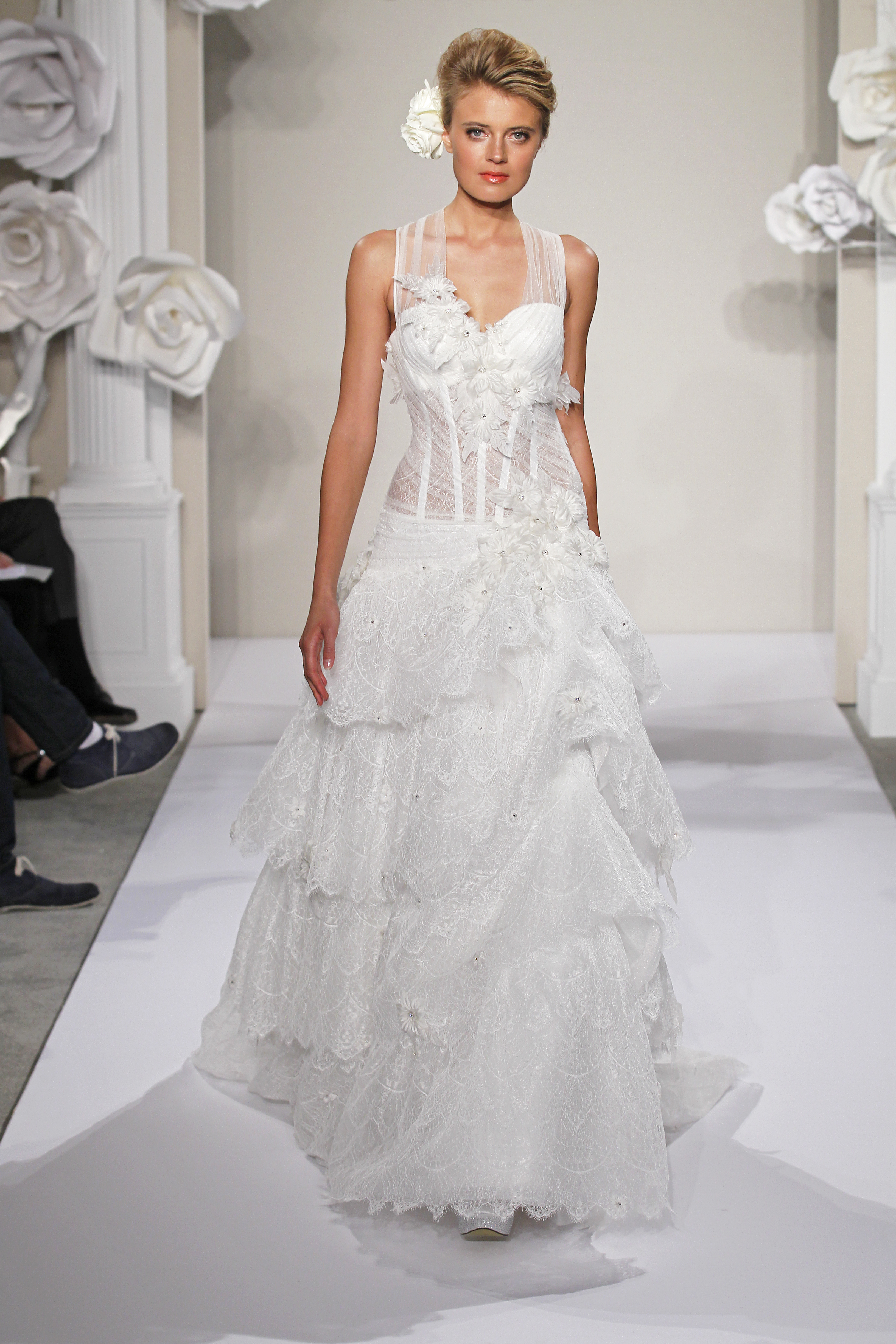 Wedding Dresses, Sweetheart Wedding Dresses, Illusion Neckline Wedding Dresses, A-line Wedding Dresses, Ruffled Wedding Dresses, Lace Wedding Dresses, Fashion, white, ivory, Flowers, Shabby Chic, Lace, Sweetheart, A-line, Floor, Formal, Natural, Ruffles, Tiers, Illusion, Sleeveless, Pnina tornai, Flower Wedding Dresses, Formal Wedding Dresses, Floor Wedding Dresses, Shabby Chic Wedding Dresses, Tiered Wedding Dresses