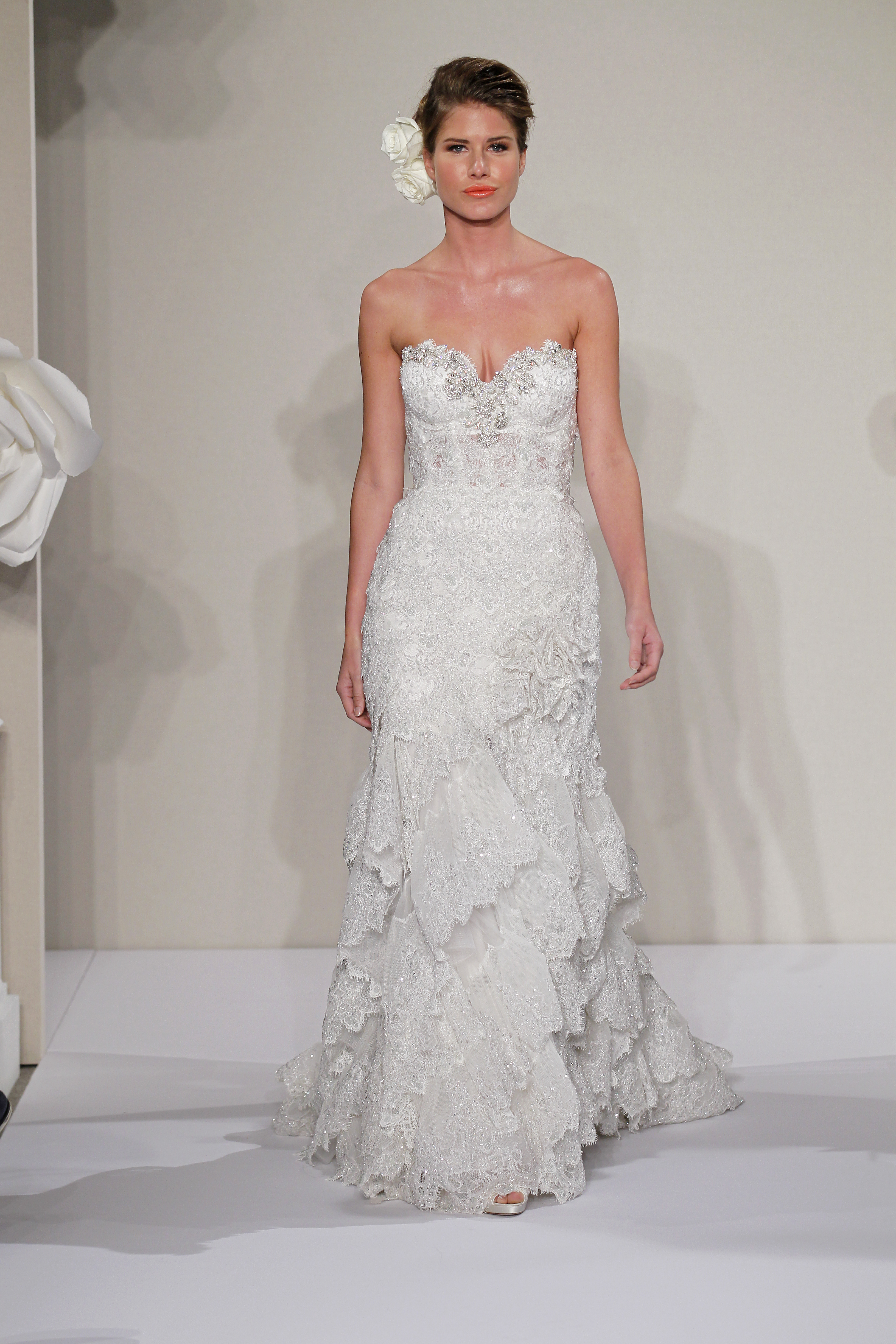 Wedding Dresses, Sweetheart Wedding Dresses, A-line Wedding Dresses, Ruffled Wedding Dresses, Lace Wedding Dresses, Romantic Wedding Dresses, Hollywood Glam Wedding Dresses, Fashion, white, ivory, Shabby Chic, Romantic, Lace, Sweetheart, A-line, Beading, Floor, Formal, Natural, Ruffles, Sleeveless, Pnina tornai, Avant-Garde, hollywood glam, Beaded Wedding Dresses, Formal Wedding Dresses, Floor Wedding Dresses, Shabby Chic Wedding Dresses