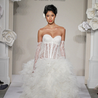 white, ivory, Shabby Chic, Romantic, Lace, Sweetheart, Tulle, Floor, Natural, Ruffles, Hip, Sleeveless, Pnina tornai, Ball gown, hollywood glam