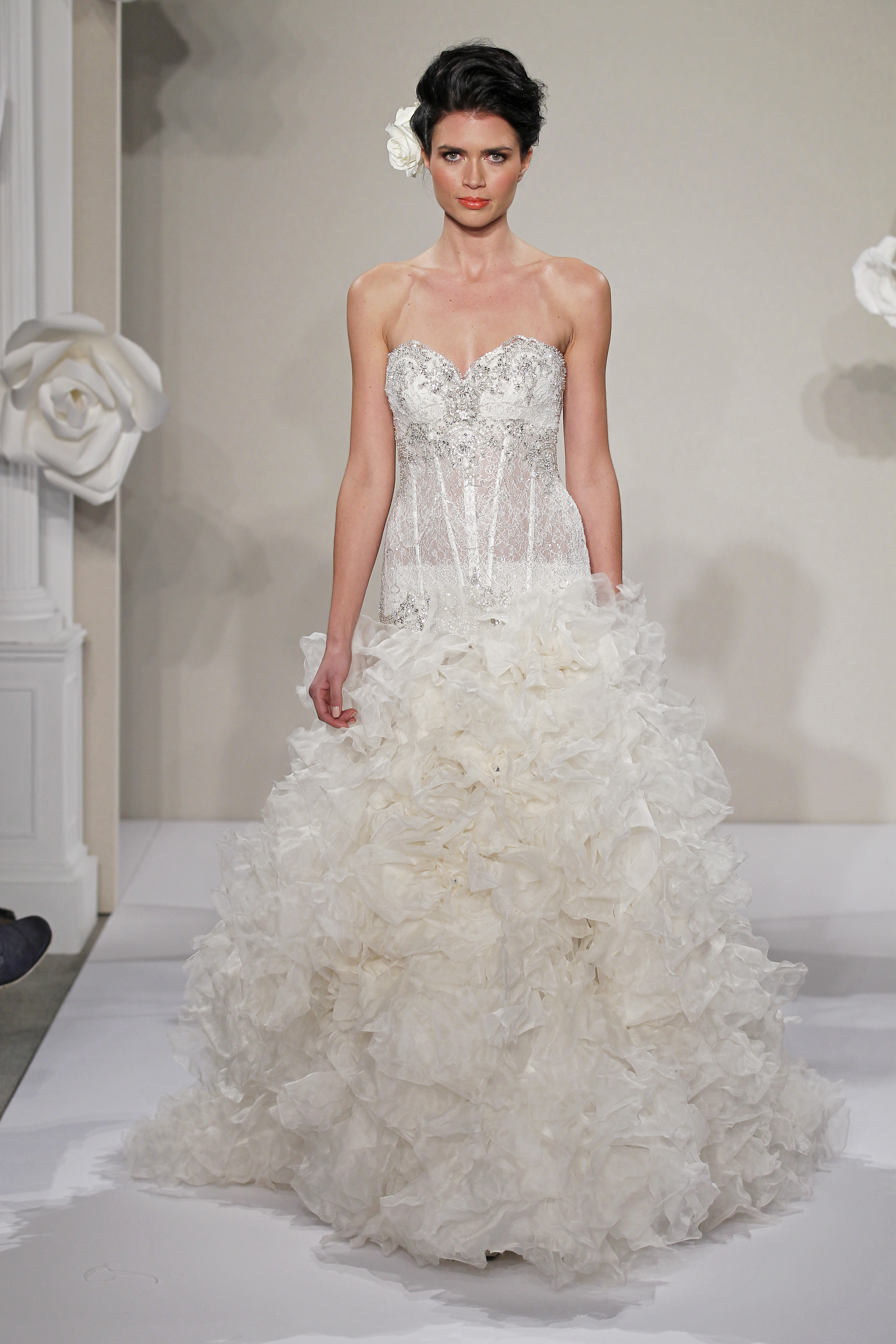 Wedding Dresses, Sweetheart Wedding Dresses, Ball Gown Wedding Dresses, Ruffled Wedding Dresses, Lace Wedding Dresses, Hollywood Glam Wedding Dresses, Fashion, white, ivory, Shabby Chic, Lace, Sweetheart, Beading, Floor, Formal, Ruffles, Hip, Dropped, Sleeveless, Pnina tornai, Ball gown, hollywood glam, Beaded Wedding Dresses, Formal Wedding Dresses, Floor Wedding Dresses, Hip Wedding Dresses, Shabby Chic Wedding Dresses