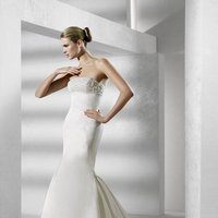 Wedding Dresses, Romantic Wedding Dresses, Hollywood Glam Wedding Dresses, Fashion, white, ivory, Mermaid, Romantic, Strapless, Strapless Wedding Dresses, Beading, Empire, Fit and flare, Trumpet, Satin, Floor, Formal, La sposa, Sleeveless, hollywood glam, Beaded Wedding Dresses, satin wedding dresses, Formal Wedding Dresses, Floor Wedding Dresses