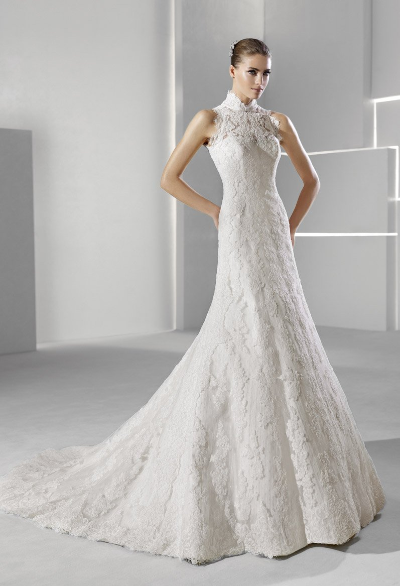 Wedding Dresses, A-line Wedding Dresses, Lace Wedding Dresses, Vintage Wedding Dresses, Fashion, white, ivory, Vintage, Classic, Lace, A-line, Halter, Empire, Tulle, Floor, Formal, La sposa, Sleeveless, high-neck, halter wedding dresses, High Neck Wedding Dresses, Classic Wedding Dresses, tulle wedding dresses, Formal Wedding Dresses, Floor Wedding Dresses