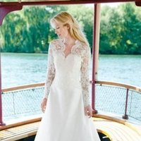 Wedding Dresses, Sweetheart Wedding Dresses, Ball Gown Wedding Dresses, Lace Wedding Dresses, Fashion, white, Long, Lace, Sweetheart, Coat, Silk, Jacket, Long sleeves, Ball gown, chapel train, floor length, lea ann belter, Silk Wedding Dresses