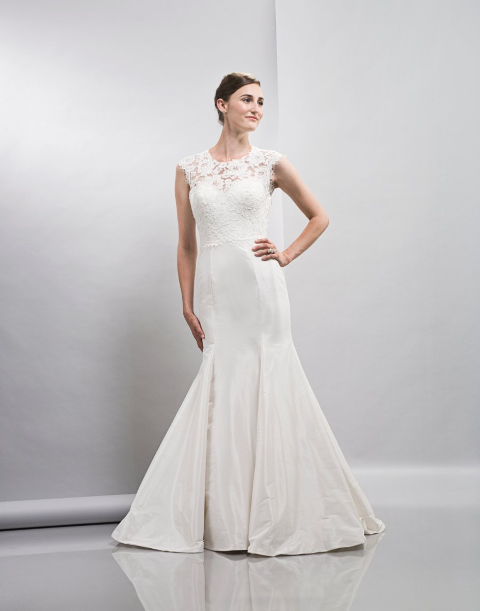 Wedding Dresses, Mermaid Wedding Dresses, Lace Wedding Dresses, Romantic Wedding Dresses, Fashion, white, ivory, Spring, Classic, Romantic, Lace, Floor, Formal, Dropped, Taffeta, Lis simon, high-neck, Mermaid/Trumpet, Fit-n-Flare, cap sleeve, taffeta wedding dresses, trumpet wedding dresses, Spring Wedding Dresses, High Neck Wedding Dresses, Classic Wedding Dresses, Formal Wedding Dresses, Floor Wedding Dresses
