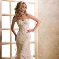 Wedding Dresses, Sweetheart Wedding Dresses, A-line Wedding Dresses, Fashion, Sweetheart, Strapless, Strapless Wedding Dresses, A-line, Tulle, Maggie Sottero, crystal beading, tiered skirt, tulle wedding dresses