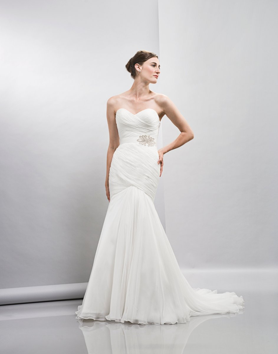 Wedding Dresses, Sweetheart Wedding Dresses, Mermaid Wedding Dresses, Romantic Wedding Dresses, Fashion, white, ivory, Spring, Modern, Romantic, Sweetheart, Strapless, Strapless Wedding Dresses, Floor, Chiffon, Dropped, Sleeveless, Ruching, Lis simon, Mermaid/Trumpet, Sash/Belt, Fit-n-Flare, Modern Wedding Dresses, trumpet wedding dresses, Spring Wedding Dresses, Chiffon Wedding Dresses, Floor Wedding Dresses, Sash Wedding Dresses, Belt Wedding Dresses