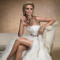 Wedding Dresses, A-line Wedding Dresses, Ruffled Wedding Dresses, Fashion, A-line, Maggie Sottero, Layers, Satin, Organza, Ruffles, organza wedding dresses, high slit, illusion sweetheart, satin wedding dresses