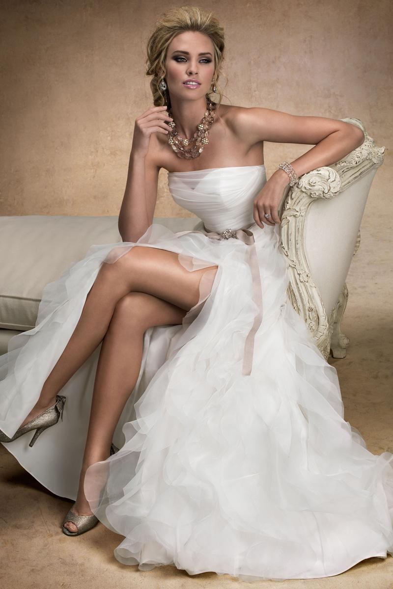 Wedding Dresses, A-line Wedding Dresses, Ruffled Wedding Dresses, Fashion, A-line, Maggie Sottero, Layers, Satin, Organza, Ruffles, organza wedding dresses, high slit, illusion sweetheart, satin wedding dresses