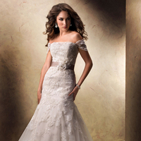 Wedding Dresses, A-line Wedding Dresses, Lace Wedding Dresses, Fashion, Lace, A-line, Off the shoulder, Tulle, Maggie Sottero, illusion neckline, Off the Shoulder Wedding Dresses, handmade flowers, grosgrain ribbon, floral belt, tulle wedding dresses
