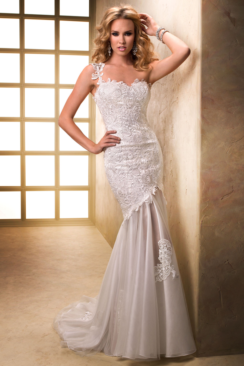 Wedding Dresses, Sweetheart Wedding Dresses, One-Shoulder Wedding Dresses, Lace Wedding Dresses, Fashion, Lace, Sweetheart, Sheath, Maggie Sottero, One-shoulder, all over lace, illusion organza skirt, Sheath Wedding Dresses