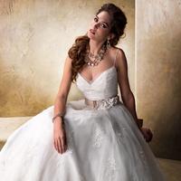 Wedding Dresses, Ball Gown Wedding Dresses, Fashion, V-neck, V-neck Wedding Dresses, Spaghetti strap, Tulle, Maggie Sottero, Ball gown, grosgrain belt, tulle wedding dresses