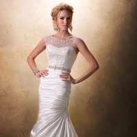Wedding Dresses, Fashion, Natural waist, Maggie Sottero, Satin, Crystals, illusion neckline, jeweled neckline, beaded embellishments, satin wedding dresses