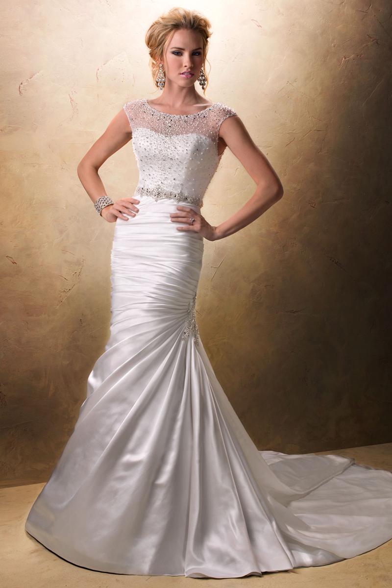 Wedding Dresses, Fashion, Natural waist, Maggie Sottero, Satin, Crystals, illusion neckline, jeweled neckline, beaded embellishments, satin wedding dresses