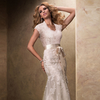 Wedding Dresses, Lace Wedding Dresses, Fashion, Lace, Cap sleeves, V-neck, V-neck Wedding Dresses, Sheath, Maggie Sottero, ribbon belt, Sheath Wedding Dresses