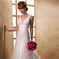Wedding Dresses, Fashion, V-neck, V-neck Wedding Dresses, Fit and flare, Tulle, Maggie Sottero, Sequin, ruched waist, tulle wedding dresses