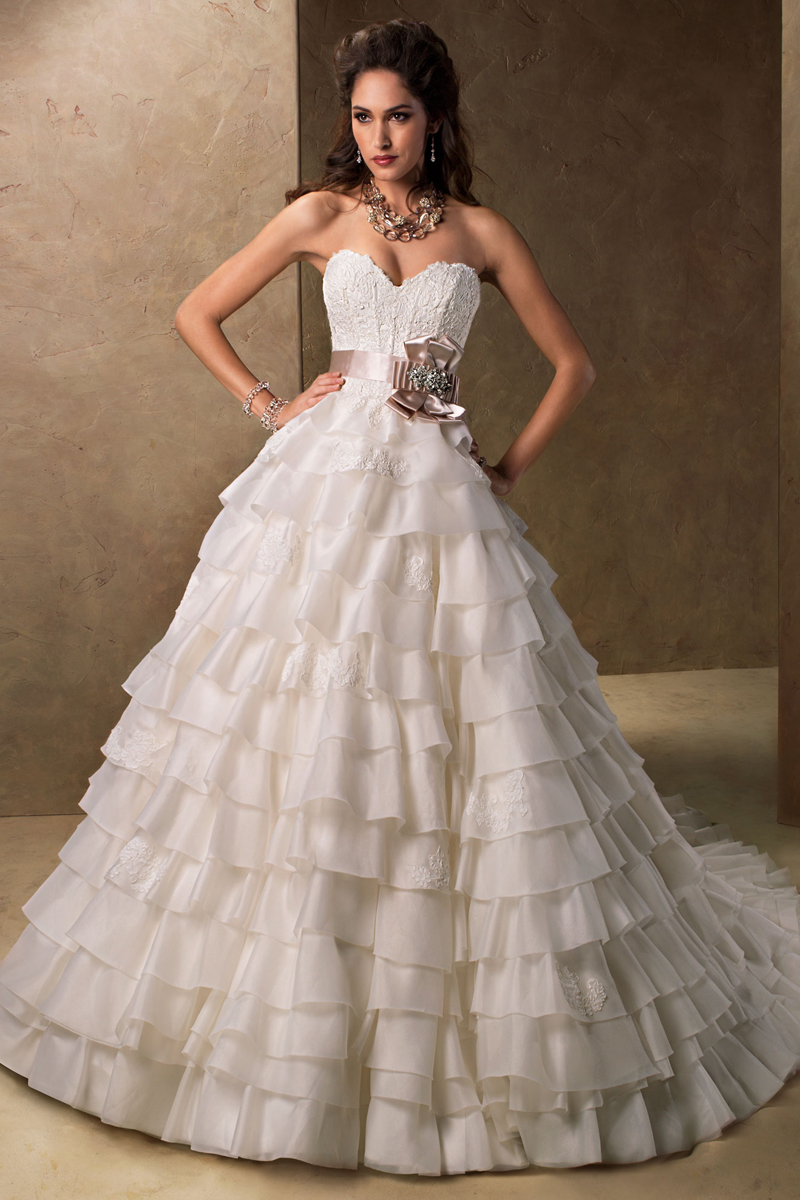 Wedding Dresses, Sweetheart Wedding Dresses, Ball Gown Wedding Dresses, Ruffled Wedding Dresses, Lace Wedding Dresses, Fashion, Lace, Sweetheart, Strapless, Strapless Wedding Dresses, Maggie Sottero, Organza, Ruffles, Ball gown, tiered skirt, organza wedding dresses, crystal detail, satin ribbon belt