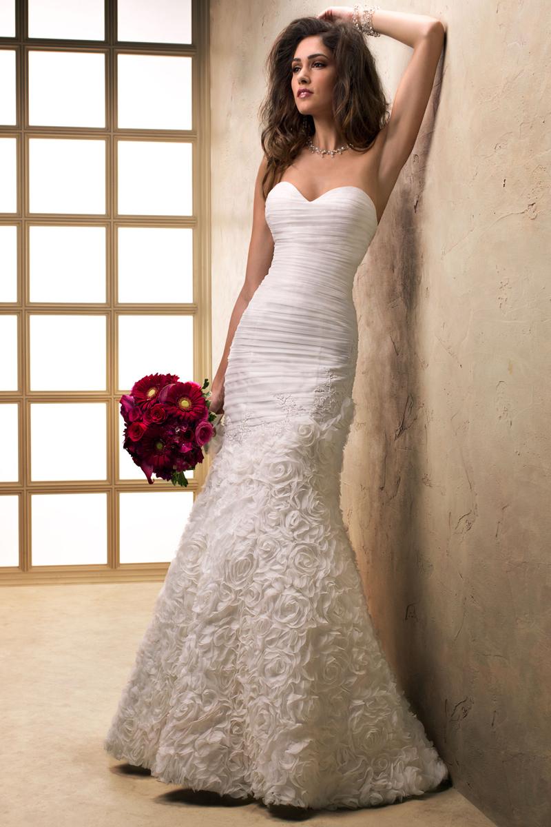 Wedding Dresses, Sweetheart Wedding Dresses, Fashion, Sweetheart, Strapless, Strapless Wedding Dresses, Maggie Sottero, Satin, 3D flowers, ruched bodice, textured skirt, satin wedding dresses