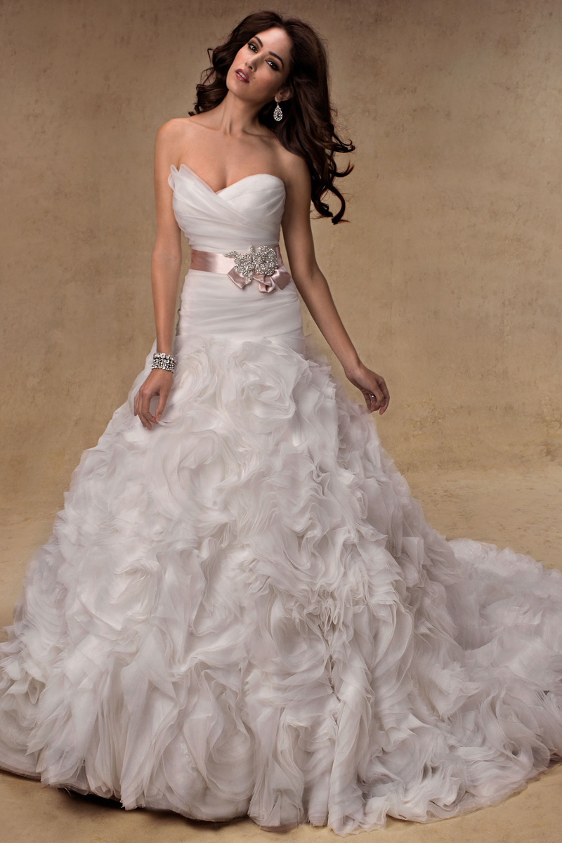 Wedding Dresses, Sweetheart Wedding Dresses, A-line Wedding Dresses, Fashion, Sweetheart, Strapless, Strapless Wedding Dresses, A-line, Beading, Maggie Sottero, Organza, Satin-ribbon, ruffled skirt, ruched bodice, Beaded Wedding Dresses, organza wedding dresses, rosette skirt