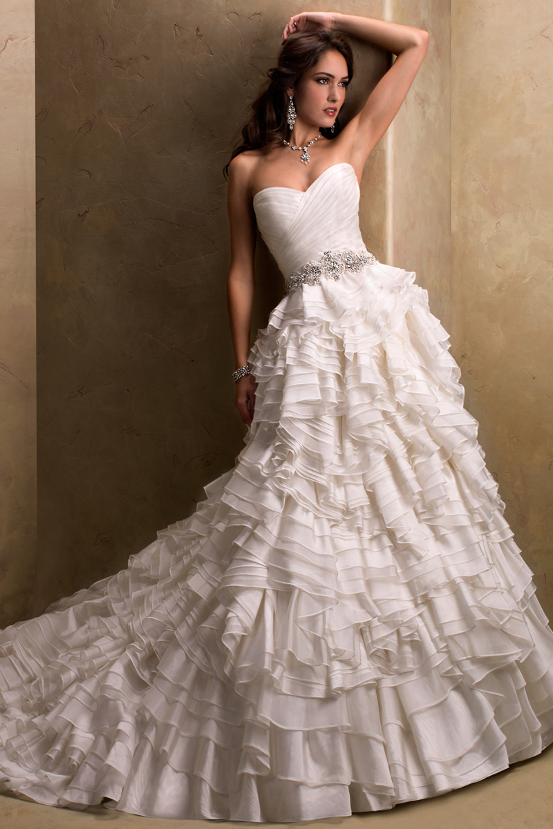 Wedding Dresses, Sweetheart Wedding Dresses, Ball Gown Wedding Dresses, Fashion, Sweetheart, Strapless, Strapless Wedding Dresses, Maggie Sottero, Organza, Ball gown, ruffled skirt, crystal beading, layered skirt, ruched bodice, beaded waist, organza wedding dresses
