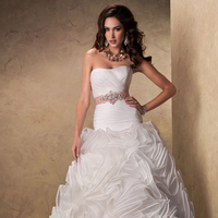 Wedding Dresses, A-line Wedding Dresses, Fashion, A-line, Maggie Sottero, Satin-ribbon, ruffled skirt, crystal beading, layered skirt, ruched bodice