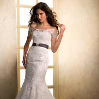 Wedding Dresses, A-line Wedding Dresses, Lace Wedding Dresses, Fashion, Lace, A-line, Off the shoulder, Tulle, Maggie Sottero, Organza, short sleeve, illusion sleeves, Off the Shoulder Wedding Dresses, organza wedding dresses, crystal detail, grosgrain ribbon belt, tulle wedding dresses