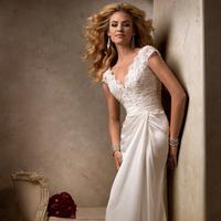 Wedding Dresses, Lace Wedding Dresses, Fashion, Lace, Cap sleeves, V-neck, V-neck Wedding Dresses, Maggie Sottero, Satin, Chiffon, lace bodice, satin wedding dresses, Chiffon Wedding Dresses