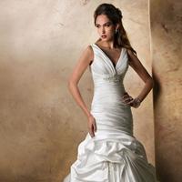 Wedding Dresses, Fashion, V-neck, V-neck Wedding Dresses, Maggie Sottero, Satin, Pick-ups, Sleeveless, dropped waist, ruched bodice, crystal brooch, tank straps, satin wedding dresses