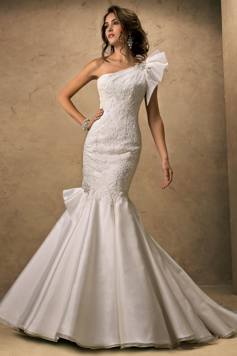 Wedding Dresses, One-Shoulder Wedding Dresses, Fashion, Fit and flare, Maggie Sottero, Organza, Ruffle, One-shoulder, organza wedding dresses, crystal detail