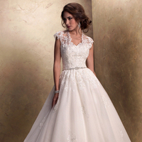 Wedding Dresses, Sweetheart Wedding Dresses, Ball Gown Wedding Dresses, Lace Wedding Dresses, Fashion, Lace, Sweetheart, Tulle, Maggie Sottero, Ball gown, illusion neckline, illusion sleeves, crystal belt, tulle wedding dresses