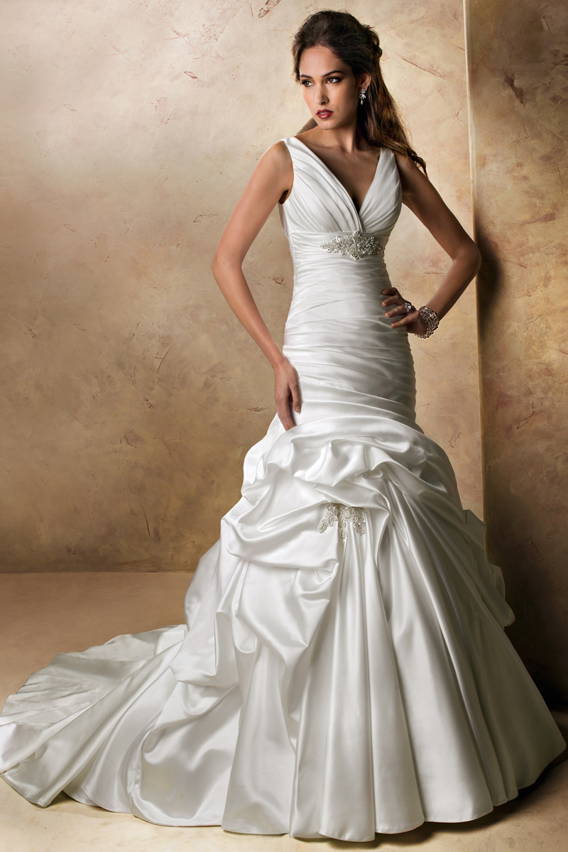 Wedding Dresses, Fashion, V-neck, V-neck Wedding Dresses, Maggie Sottero, Satin, Pick-ups, Sleeveless, dropped waist, ruched bodice, crystal brooch, tank straps, satin wedding dresses