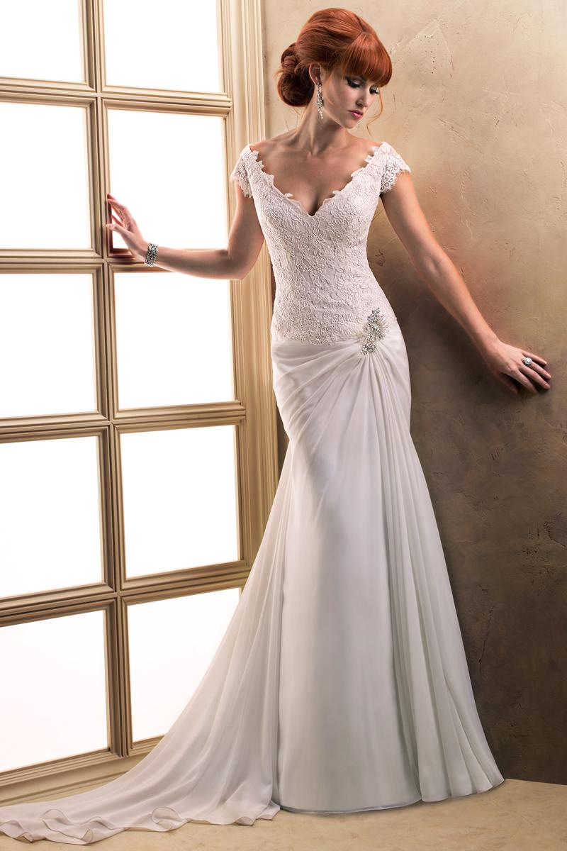 Wedding Dresses, Fashion, Sheath, Maggie Sottero, Satin, Chiffon, short sleeve, deep V-neck, crystal detail, lace sleeves, cinched waist, satin wedding dresses, Sheath Wedding Dresses, Chiffon Wedding Dresses