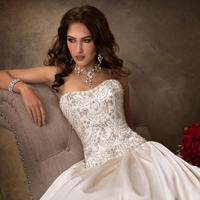 Wedding Dresses, Ball Gown Wedding Dresses, Fashion, Strapless, Strapless Wedding Dresses, Maggie Sottero, Satin, Ball gown, Beaded bodice, satin skirt, satin wedding dresses