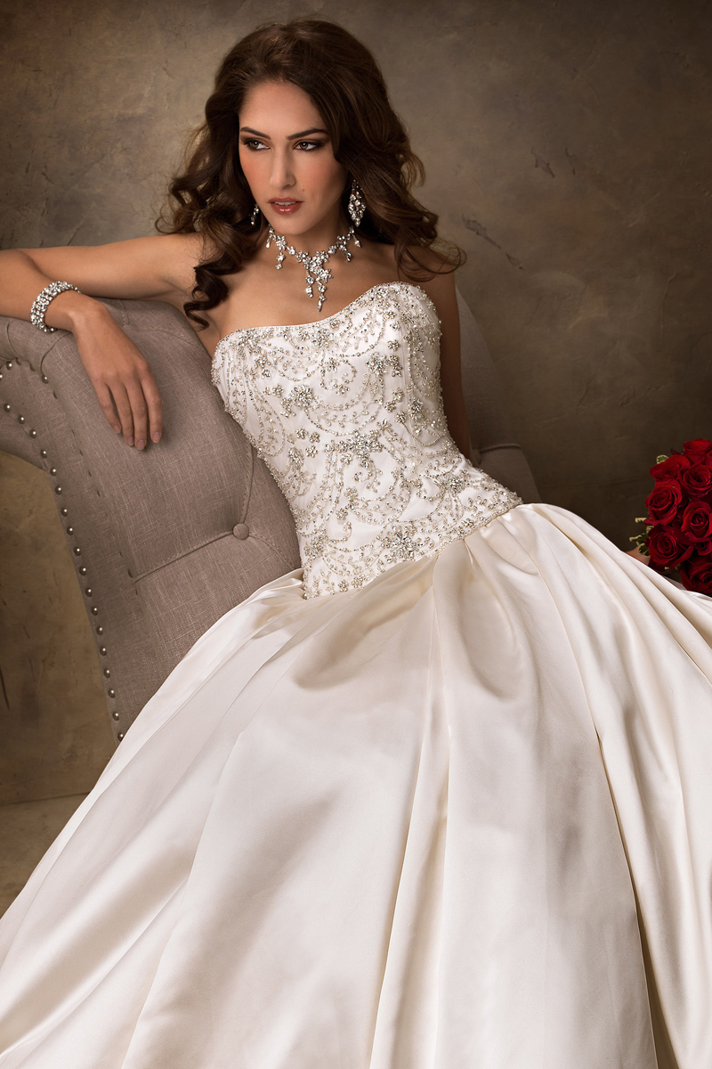 Wedding Dresses, Ball Gown Wedding Dresses, Fashion, Strapless, Strapless Wedding Dresses, Maggie Sottero, Satin, Ball gown, Beaded bodice, satin skirt, satin wedding dresses
