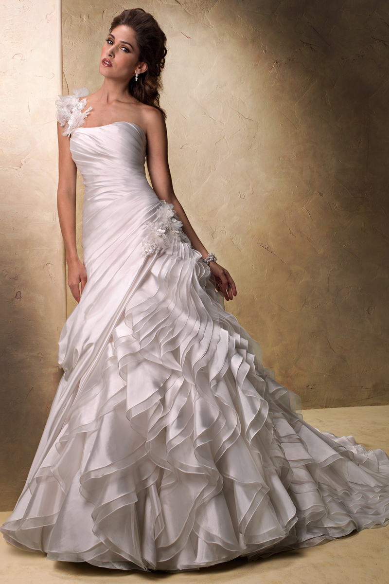 Wedding Dresses, One-Shoulder Wedding Dresses, Ball Gown Wedding Dresses, Ruffled Wedding Dresses, Fashion, Maggie Sottero, Ruffles, Ball gown, One-shoulder, layered skirt, ruched bodice