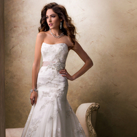 Wedding Dresses, A-line Wedding Dresses, Lace Wedding Dresses, Fashion, Lace, Strapless, Strapless Wedding Dresses, A-line, Tulle, Maggie Sottero, Organza, Sequins, crystal beading, organza wedding dresses, grosgrain ribbon, tulle wedding dresses